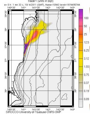 放射能海洋拡散予測・・・フランス国立科学研究センター