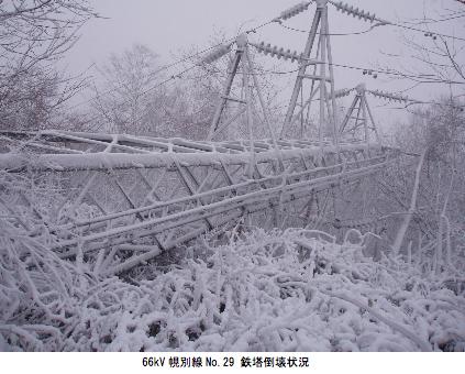倒れた送電線鉄塔(北電HPより)